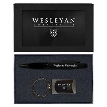 Wesleyan University -Executive Twist Action Ballpoint Pen Stylus and Gunmetal Key Tag Gift Set-Black