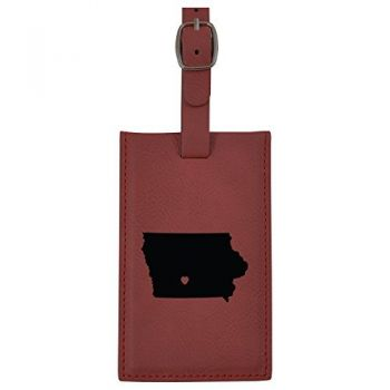 Iowa-State Outline-Heart-Leatherette Luggage Tag -Burgundy