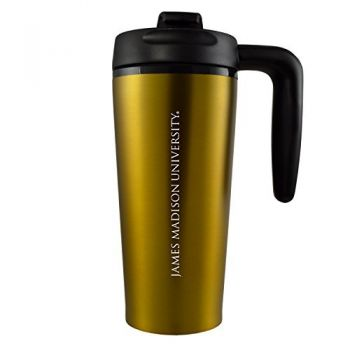 James Madison University-16 oz. Travel Mug Tumbler with Handle-Gold