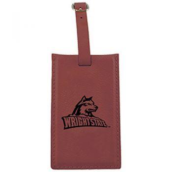 Wright State university -Leatherette Luggage Tag-Burgundy