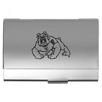 California State University, Fresno - Two-Tone Business Card Holder - Silver