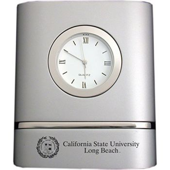 California State University, Long Beach- Two-Toned Desk Clock -Silver