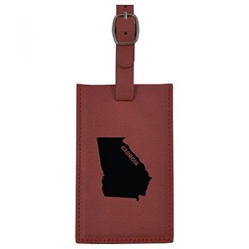 Georgia-State Outline-Leatherette Luggage Tag -Burgundy