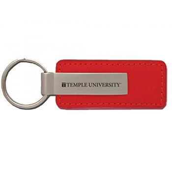Temple University - Leather and Metal Keychain - Red