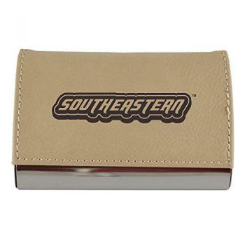 Velour Business Cardholder-Southeastern Louisiana University-Tan