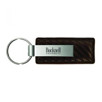 Bucknell University-Carbon Fiber Leather and Metal Key Tag-Taupe