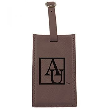 American University -Leatherette Luggage Tag-Brown