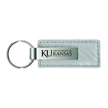 The University of Kansas-Carbon Fiber Leather and Metal Key Tag-White