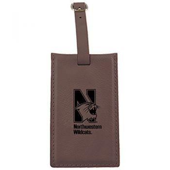 Northwestern University -Leatherette Luggage Tag-Brown