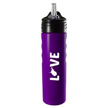 West Virginia-State Outline-Love-Stainless Steel Grip Water Bottle with Straw-Purple