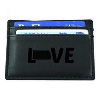 Kansas-State Outline-Love-European Money Clip Wallet-Black