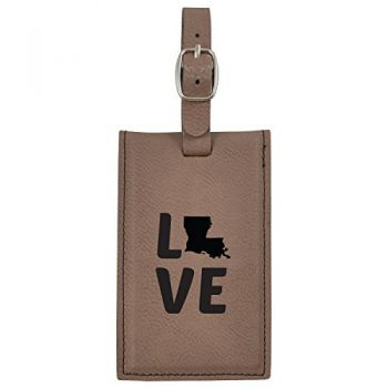 Louisiana-State Outline-Love-Leatherette Luggage Tag -Brown