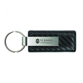 St. John's University-Carbon Fiber Leather and Metal Key Tag-Grey