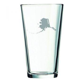 16 oz Pint Glass  - Alaska State Outline - Alaska State Outline