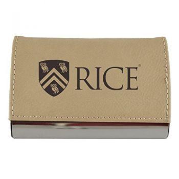 Velour Business Cardholder-Rice University-Tan