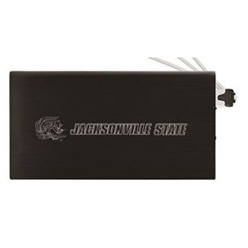 8000 mAh Portable Cell Phone Charger-Jacksonville State University-Black