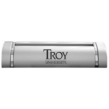 Troy University-Desk Business Card Holder -Silver