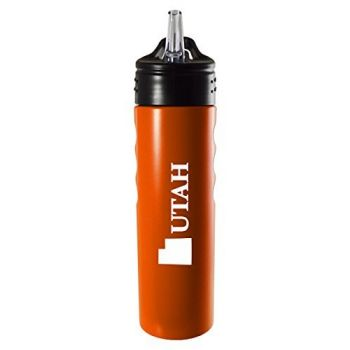 Utah-State Outline-Stainless Steel Grip Water Bottle with Straw-Orange