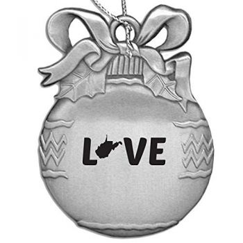 West Virginia-State Outline-Love-Christmas Tree Ornament-Silver