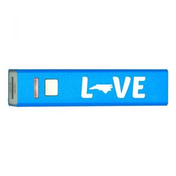 North Carolina-State Outline-Love-Portable 2600 mAh Cell Phone Charger-