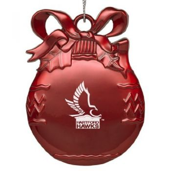 University of Hartford - Pewter Christmas Tree Ornament - Red