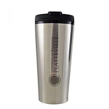 University of Wisconsin-Platteville-16 oz. Travel Mug Tumbler-Silver