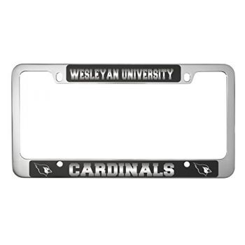 Wesleyan University -Metal License Plate Frame-Black