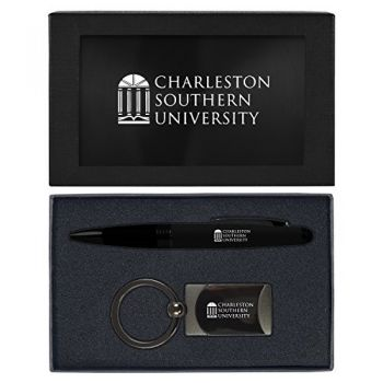 Charleston Southern University -Executive Twist Action Ballpoint Pen Stylus and Gunmetal Key Tag Gift Set-Black