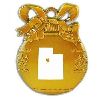 Utah-State Outline-Heart-Christmas Tree Ornament-Gold