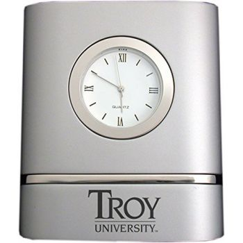 Troy University- Two-Toned Desk Clock -Silver