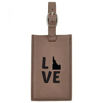 Idaho-State Outline-Love-Leatherette Luggage Tag -Brown