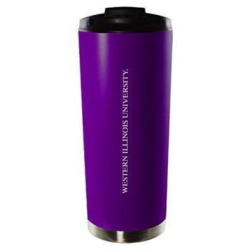 Western Illinois University-16oz. Stainless Steel Vacuum Insulated Travel Mug Tumbler-Purple