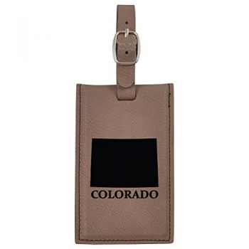 Colorado-State Outline-Leatherette Luggage Tag -Brown