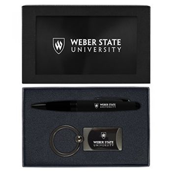 Weber State University -Executive Twist Action Ballpoint Pen Stylus and Gunmetal Key Tag Gift Set-Black