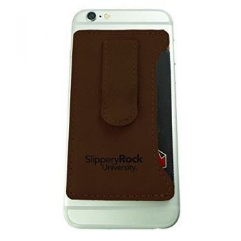 Slippery Rock University -Leatherette Cell Phone Card Holder-Brown