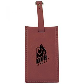 University of Illinois at Chicago-Leatherette Luggage Tag-Burgundy
