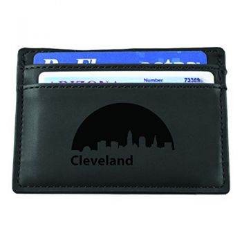 Slim Wallet with Money Clip - Cleveland City Skyline