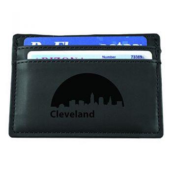Slim Wallet with Money Clip - Cleveland City Skyline