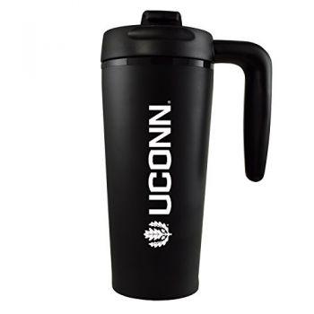 University of Connecticut-16 oz. Travel Mug Tumbler with Handle-Black