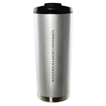 Western Illinois University-16oz. Stainless Steel Vacuum Insulated Travel Mug Tumbler-Silver