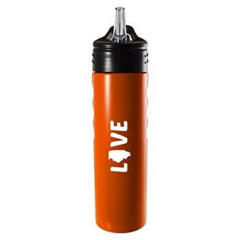 Illinois-State Outline-Love-Stainless Steel Grip Water Bottle with Straw-Orange