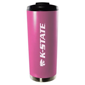 Kansas State University-16oz. Stainless Steel Vacuum Insulated Travel Mug Tumbler-Pink