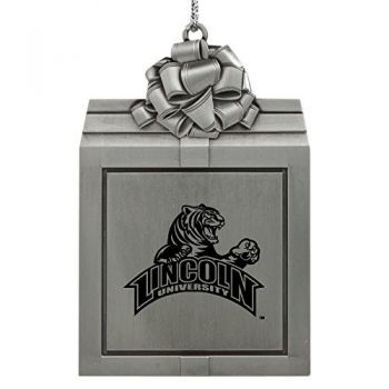 Lincoln University-Pewter Christmas Holiday Present Ornament-Silver
