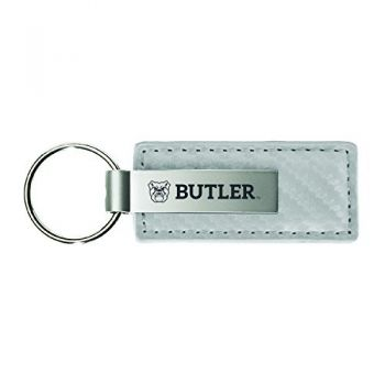 Butler University-Carbon Fiber Leather and Metal Key Tag-White