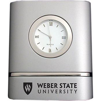 Weber State University- Two-Toned Desk Clock -Silver