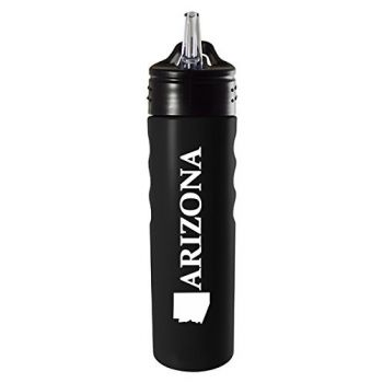 Arizona-State Outline-Stainless Steel Grip Water Bottle with Straw-Black