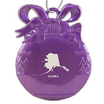 Alaska-State Outline-Christmas Tree Ornament-Purple