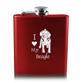 6 oz Stainless Steel Hip Flask  - I Love My Beagle