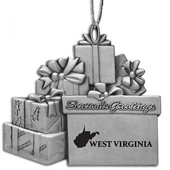 West Virginia-State Outline-Pewter Gift Package Ornament-Silver