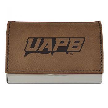 Velour Business Cardholder-University of Arkansas at Pine Buff-Brown